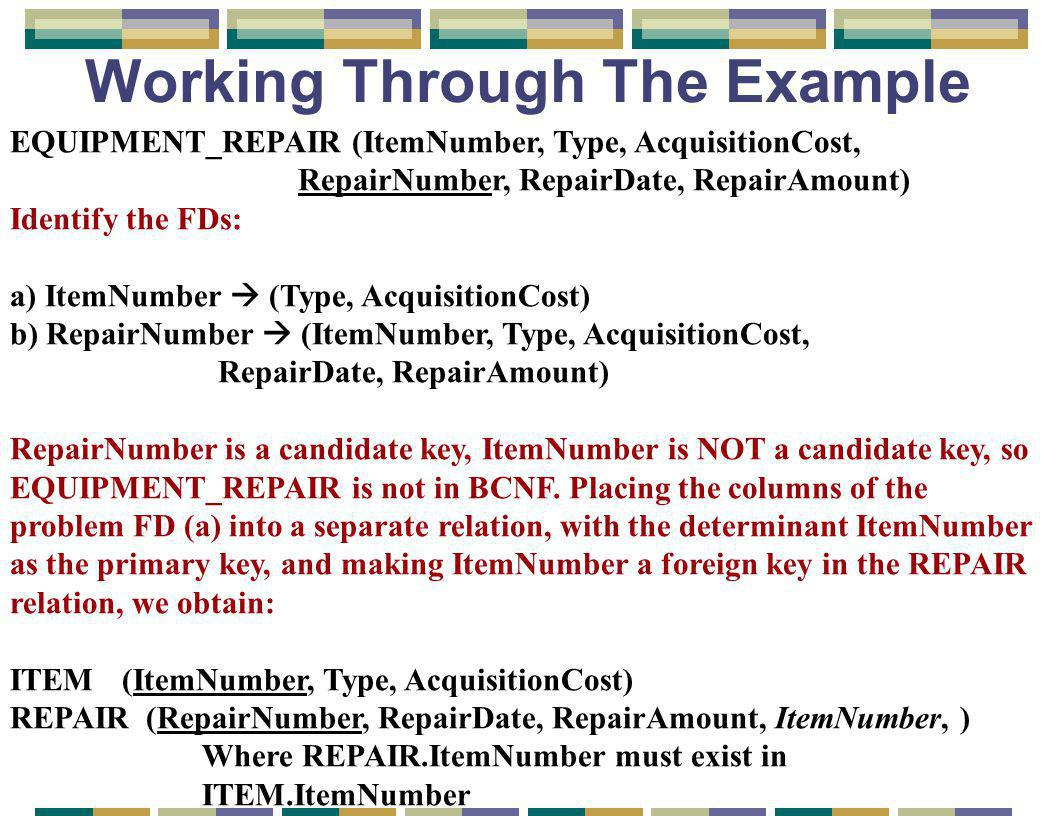 Working Through The Example EQUIPMENT_REPAIR (ItemNumber, Type, AcquisitionCost, RepairNumber, RepairDate, RepairAmount) Identify the FDs: a) ItemNumber  (Type, AcquisitionCost) b) RepairNumber  (ItemNumber, Type, AcquisitionCost, RepairDate, RepairAmount) RepairNumber is a candidate key, ItemNumber is NOT a candidate key, so EQUIPMENT_REPAIR is not in BCNF.