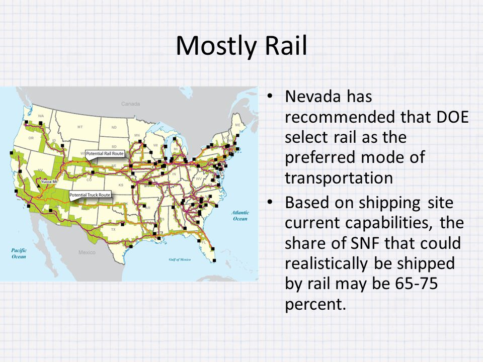 Mostly Rail Nevada has recommended that DOE select rail as the preferred mode of transportation Based on shipping site current capabilities, the share