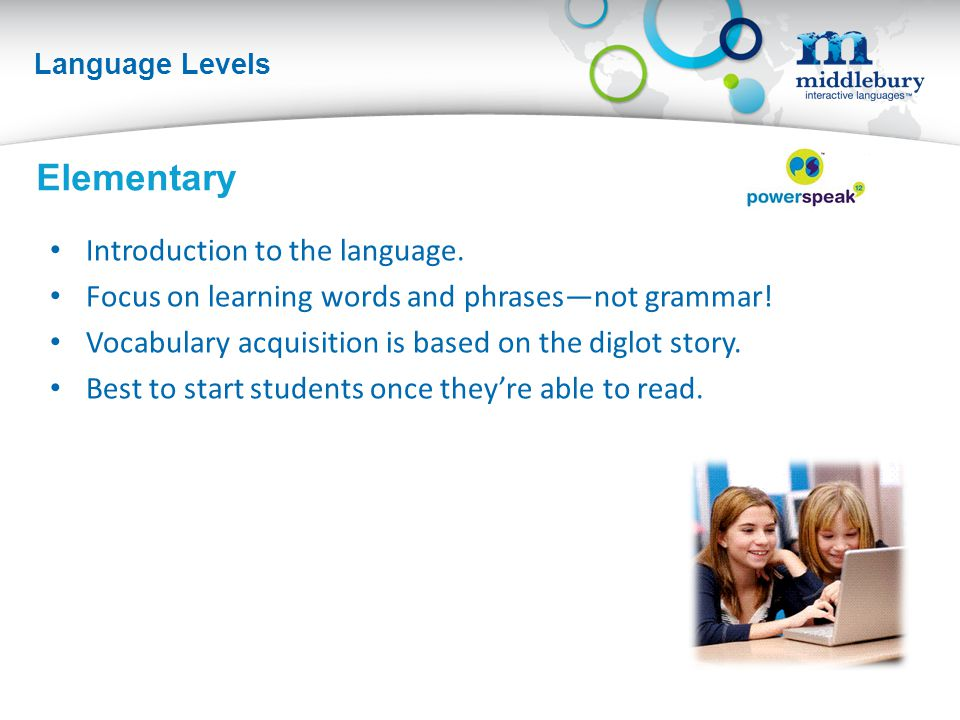 Language Levels Elementary Introduction to the language.