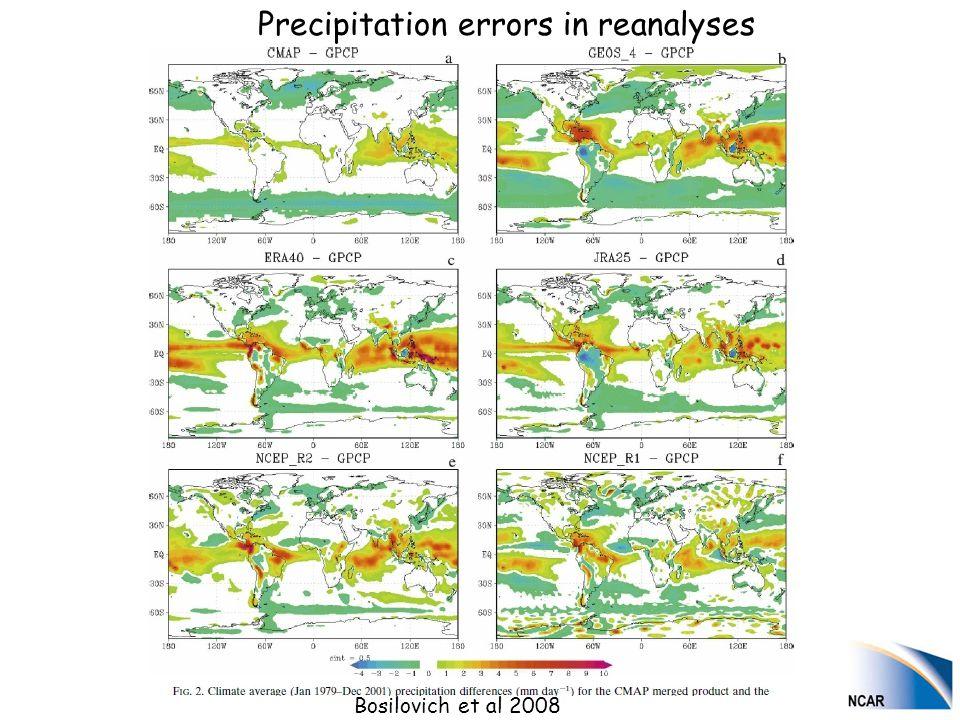 Bosilovich et al 2008 Precipitation errors in reanalyses