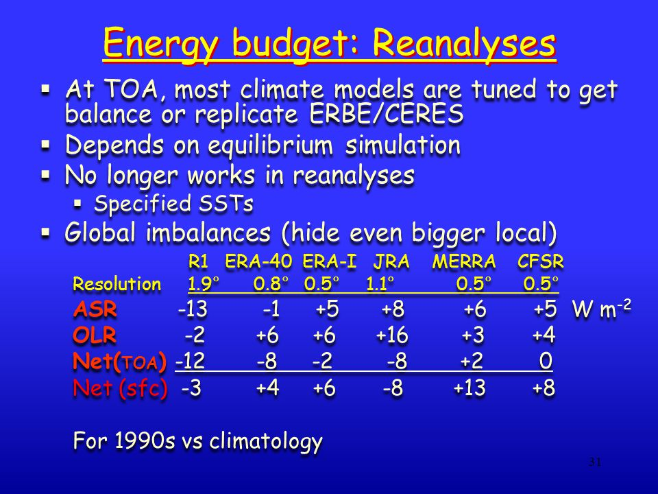 31 Energy budget: Reanalyses  At TOA, most climate models are tuned to get balance or replicate ERBE/CERES  Depends on equilibrium simulation  No l