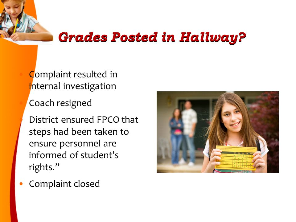 Grades Posted in Hallway.