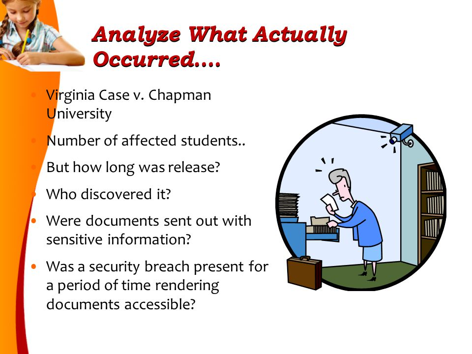 Analyze What Actually Occurred….Virginia Case v. Chapman University Number of affected students..
