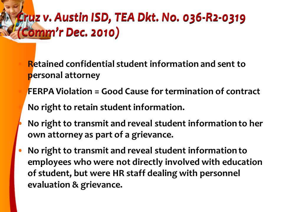 Cruz v.Austin ISD, TEA Dkt. No. 036-R2-0319 (Comm'r Dec.