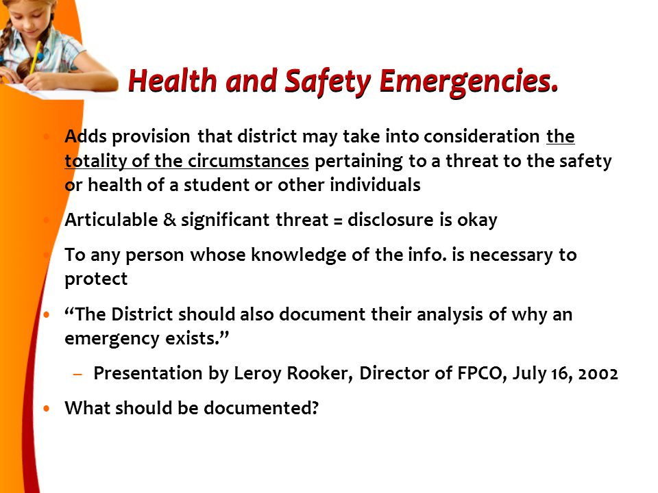 Health and Safety Emergencies.