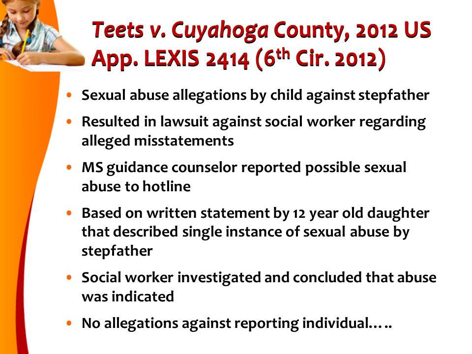 Teets v.Cuyahoga County, 2012 US App. LEXIS 2414 (6 th Cir.