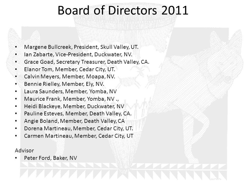Board of Directors 2011 Margene Bullcreek, President, Skull Valley, UT. Ian Zabarte, Vice-President, Duckwater, NV. Grace Goad, Secretary Treasurer, D