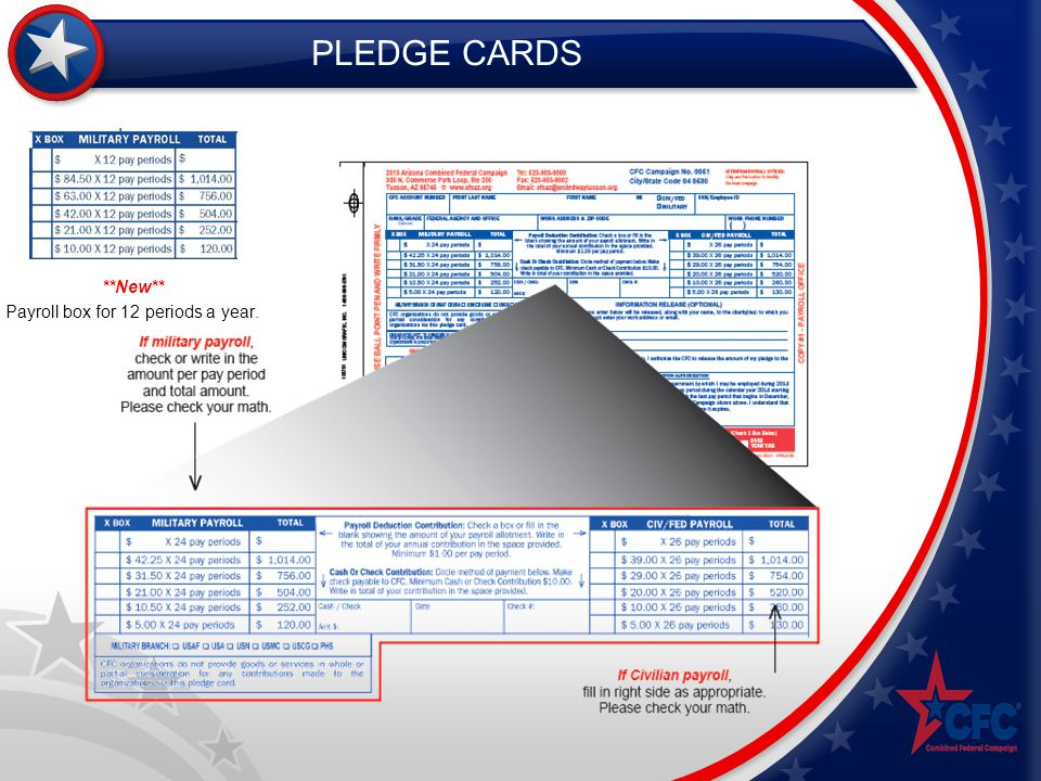 PLEDGE CARDS **New** Payroll box for 12 periods a year.