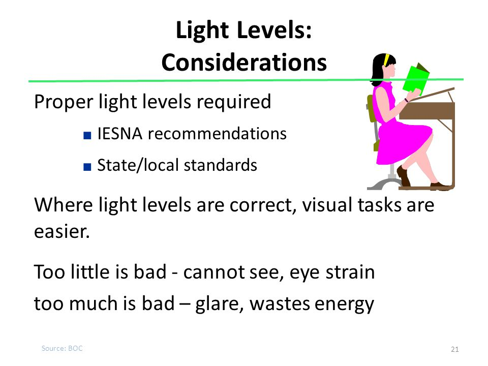 Light Levels: Considerations Proper light levels required ■ IESNA recommendations ■ State/local standards Where light levels are correct, visual tasks