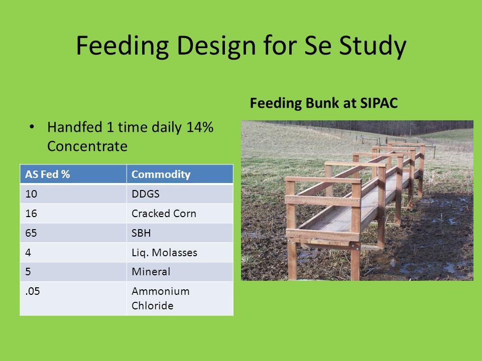 Feeding Design for Se Study Handfed 1 time daily 14% Concentrate Feeding Bunk at SIPAC AS Fed %Commodity 10DDGS 16Cracked Corn 65SBH 4Liq.