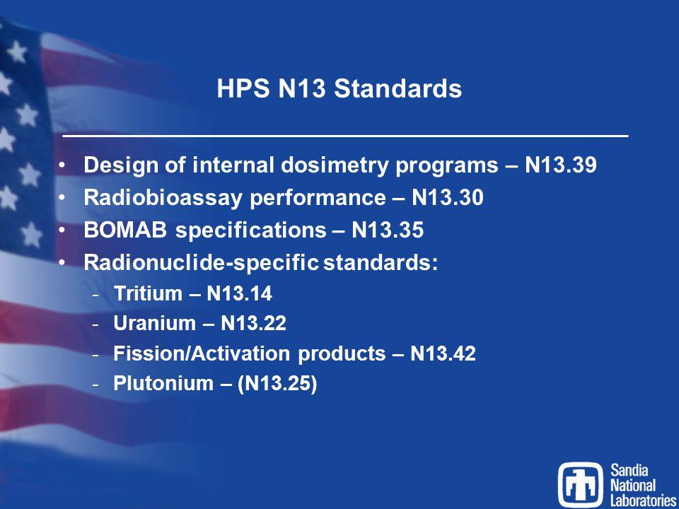 HPS N13 Standards Design of internal dosimetry programs – N13.39 Radiobioassay performance – N13.30 BOMAB specifications – N13.35 Radionuclide-specifi