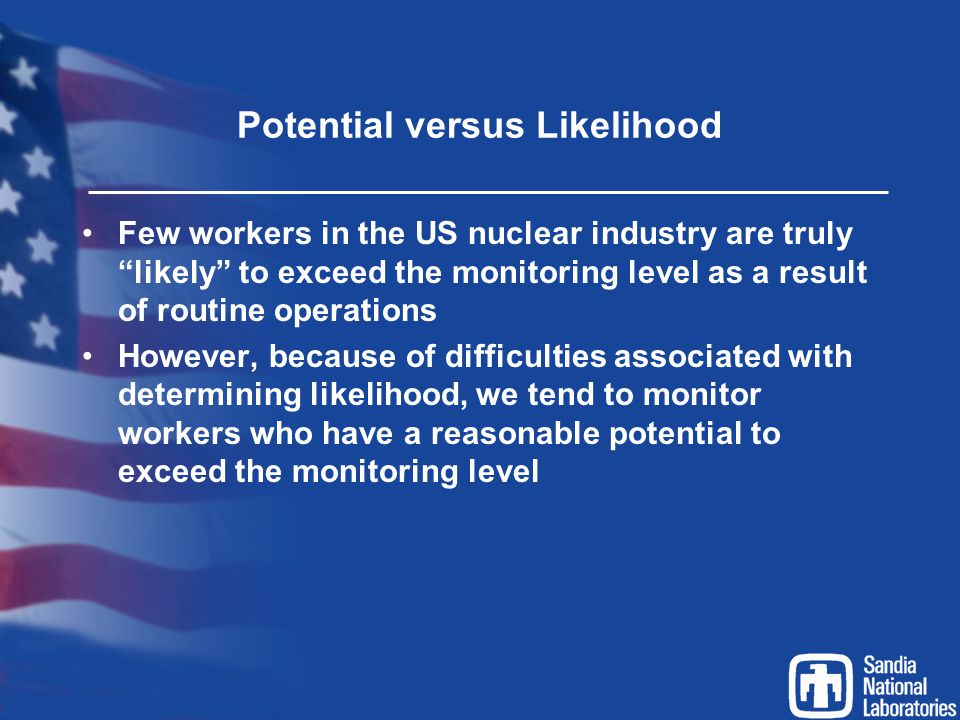 """Potential versus Likelihood Few workers in the US nuclear industry are truly """"likely"""" to exceed the monitoring level as a result of routine operations"""