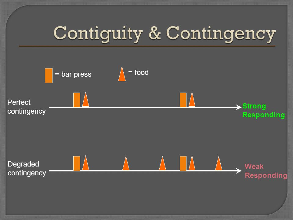 = bar press = food Perfect contingency Strong Responding Degraded contingency Weak Responding