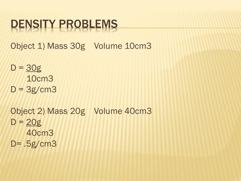 D ~.1 g/mlD ~.5g/mlD ~.9 g/mlD = 1 g/mlD > 1 g/ml StyrofoamWoodIce or water logged wood submarineRock