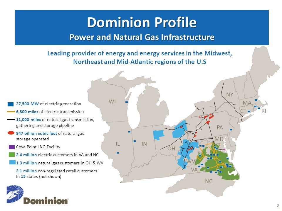 Dominion Profile Power and Natural Gas Infrastructure 2 27,500 MW of electric generation 6,300 miles of electric transmission 11,000 miles of natural gas transmission, gathering and storage pipeline 947 billion cubic feet of natural gas storage operated Cove Point LNG Facility 2.4 million electric customers in VA and NC 1.3 million natural gas customers in OH & WV 2.1 million non-regulated retail customers in 15 states (not shown) Leading provider of energy and energy services in the Midwest, Northeast and Mid-Atlantic regions of the U.S OH VA NC ILIN PA MA CTRI MD WV WI NY