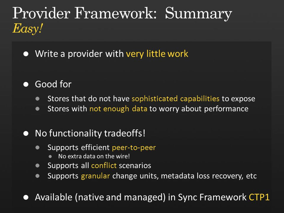 Provider Framework: Summary Easy!