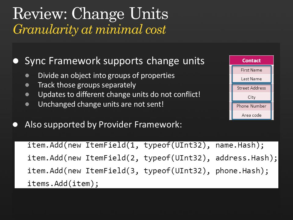 Review: Change Units Granularity at minimal cost Contact First Name Last Name Street Address City Phone Number Area code item.Add(new ItemField(1, typeof(UInt32), name.Hash); item.Add(new ItemField(2, typeof(UInt32), address.Hash); item.Add(new ItemField(3, typeof(UInt32), phone.Hash); items.Add(item);