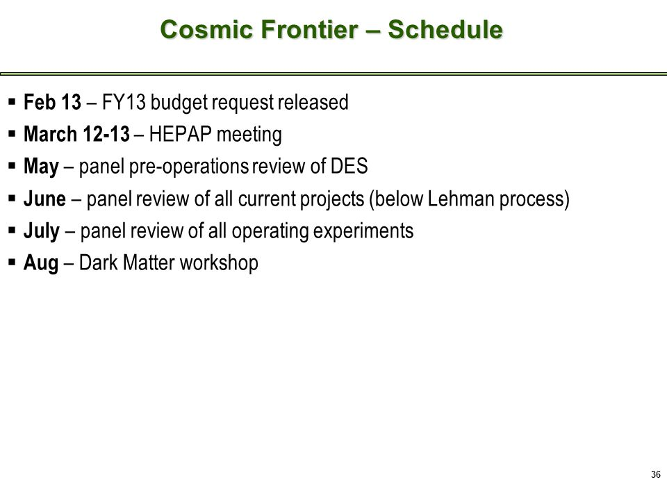 36 Cosmic Frontier - Recent Activities  Feb 13 – FY13 budget request released  March 12-13 – HEPAP meeting  May – panel pre-operations review of DES  June – panel review of all current projects (below Lehman process)  July – panel review of all operating experiments  Aug – Dark Matter workshop Cosmic Frontier – Schedule