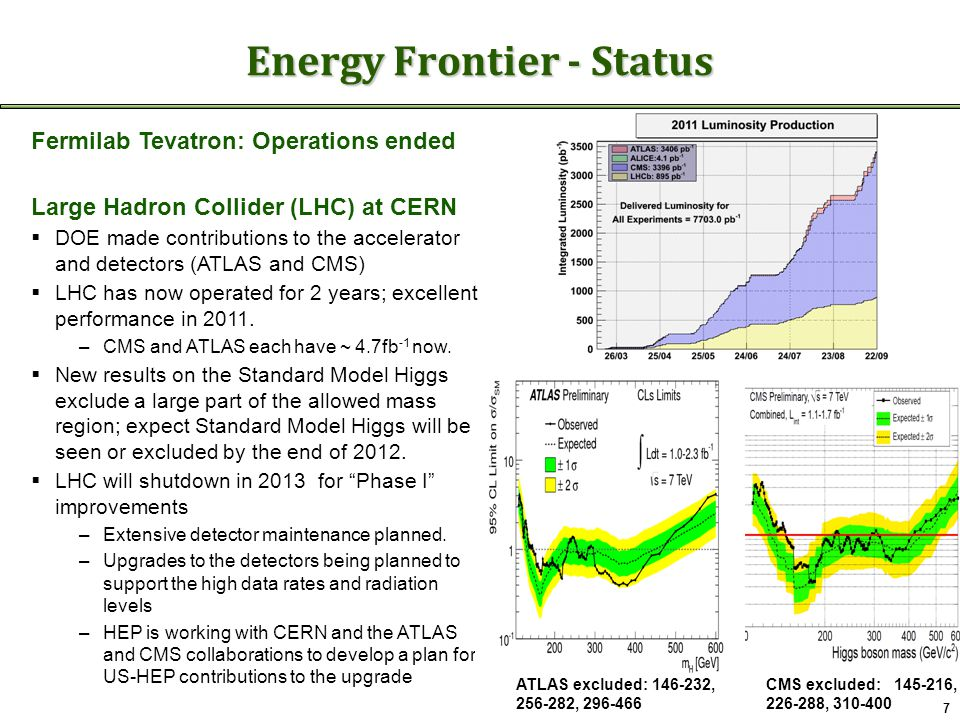 Energy Frontier - Status 7 Fermilab Tevatron: Operations ended Large Hadron Collider (LHC) at CERN  DOE made contributions to the accelerator and detectors (ATLAS and CMS)  LHC has now operated for 2 years; excellent performance in 2011.