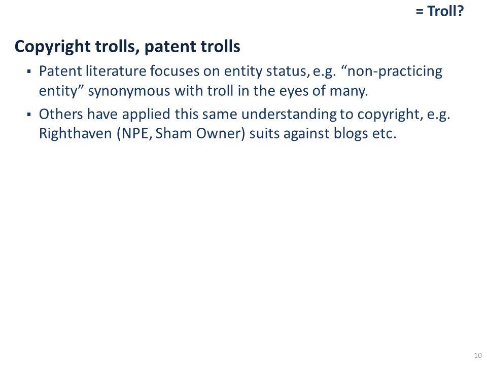 = Troll. Copyright trolls, patent trolls  Patent literature focuses on entity status, e.g.