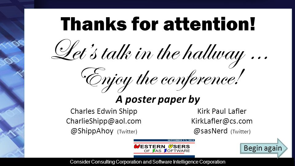 Enjoy the conference. A poster paper by Thanks for attention.