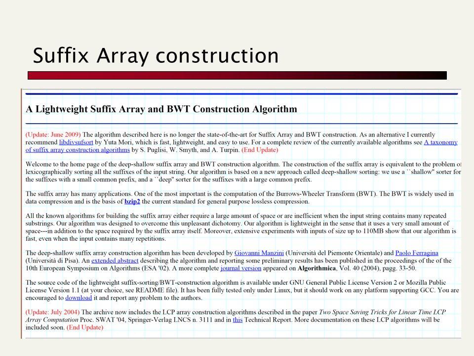 Suffix Array construction