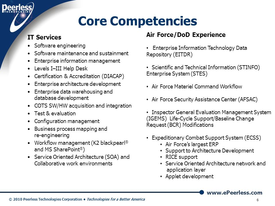 www.ePeerless.com © 2010 Peerless Technologies Corporation Technologies for a Better America 6 IT Services Software engineering Software maintenance a