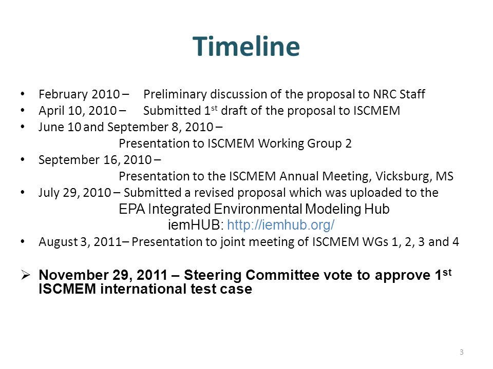 Timeline February 2010 – Preliminary discussion of the proposal to NRC Staff April 10, 2010 – Submitted 1 st draft of the proposal to ISCMEM June 10 and September 8, 2010 – Presentation to ISCMEM Working Group 2 September 16, 2010 – Presentation to the ISCMEM Annual Meeting, Vicksburg, MS July 29, 2010 – Submitted a revised proposal which was uploaded to the EPA Integrated Environmental Modeling Hub iemHUB: http://iemhub.org/ August 3, 2011– Presentation to joint meeting of ISCMEM WGs 1, 2, 3 and 4  November 29, 2011 – Steering Committee vote to approve 1 st ISCMEM international test case 3