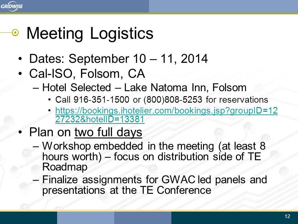 12 Meeting Logistics Dates: September 10 – 11, 2014 Cal-ISO, Folsom, CA –Hotel Selected – Lake Natoma Inn, Folsom Call 916-351-1500 or (800)808-5253 f