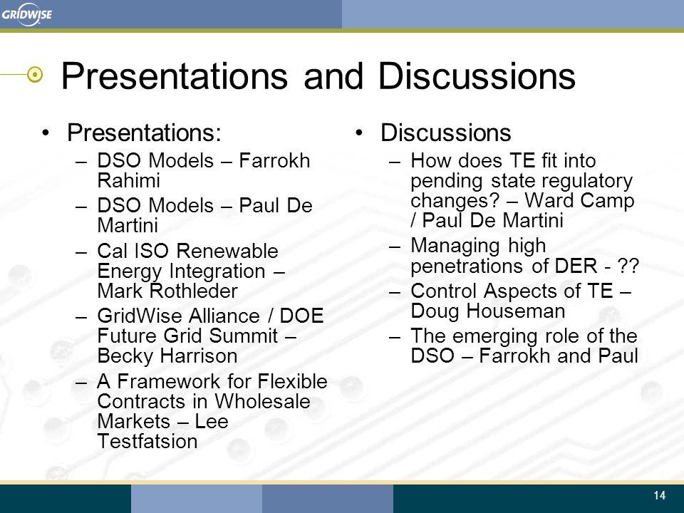 14 Presentations and Discussions Presentations: –DSO Models – Farrokh Rahimi –DSO Models – Paul De Martini –Cal ISO Renewable Energy Integration – Mar