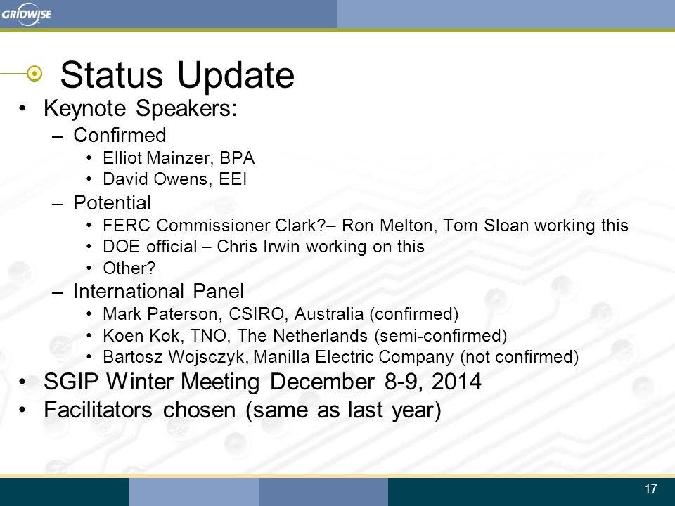 17 Status Update Keynote Speakers: –Confirmed Elliot Mainzer, BPA David Owens, EEI –Potential FERC Commissioner Clark?– Ron Melton, Tom Sloan working