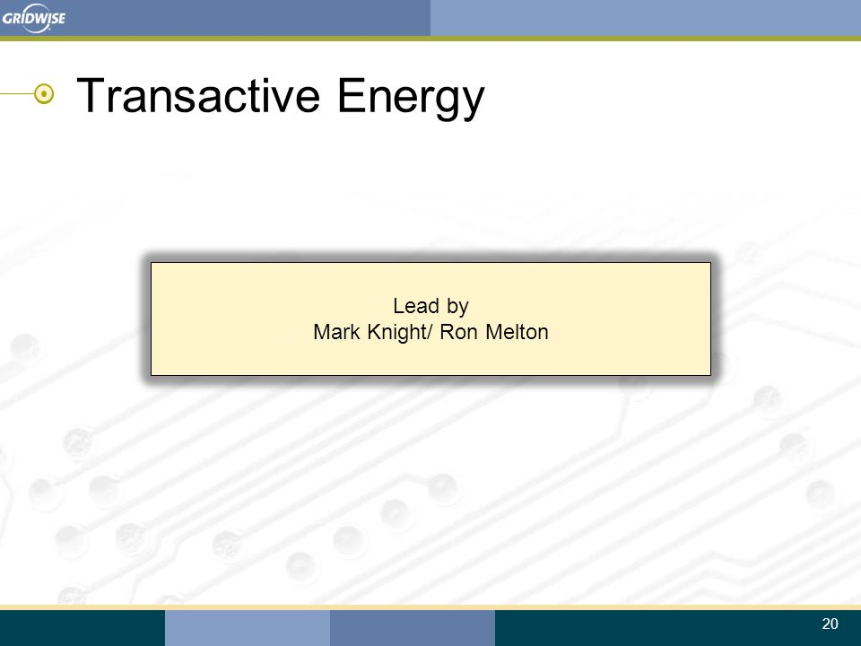 20 Lead by Mark Knight/ Ron Melton Transactive Energy