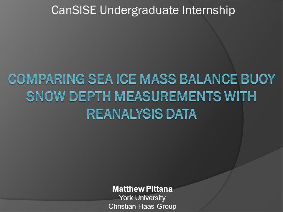 CanSISE Undergraduate Internship Matthew Pittana York University Christian Haas Group