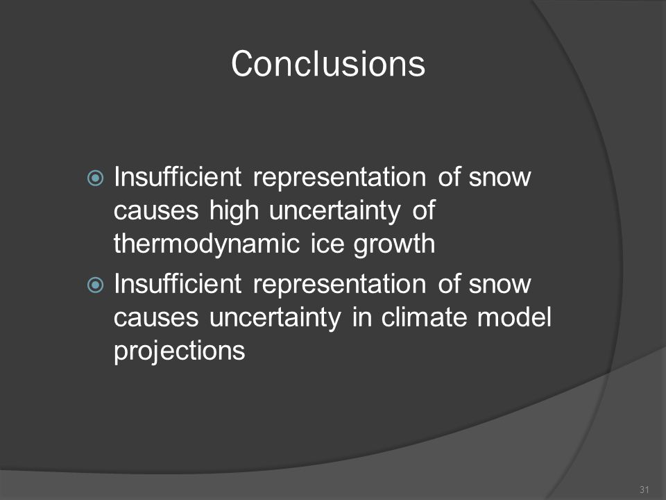 Conclusions  Insufficient representation of snow causes high uncertainty of thermodynamic ice growth  Insufficient representation of snow causes uncertainty in climate model projections 31