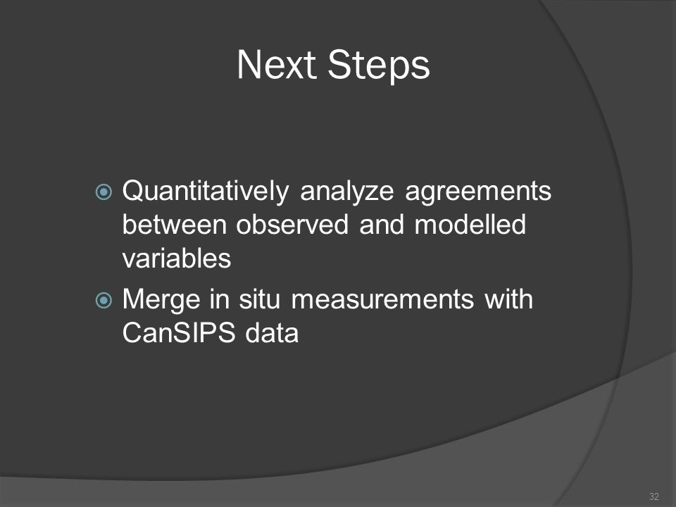Next Steps  Quantitatively analyze agreements between observed and modelled variables  Merge in situ measurements with CanSIPS data 32