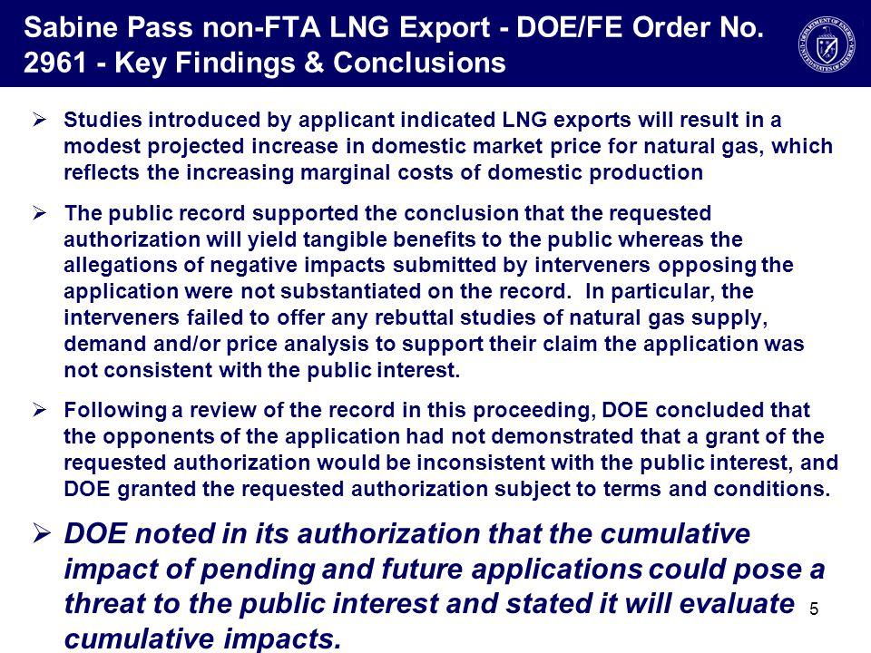 Sabine Pass non-FTA LNG Export - DOE/FE Order No.
