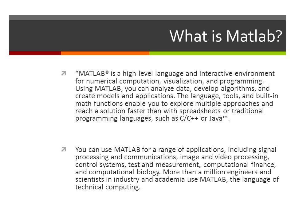 Basics of the MATLAB language