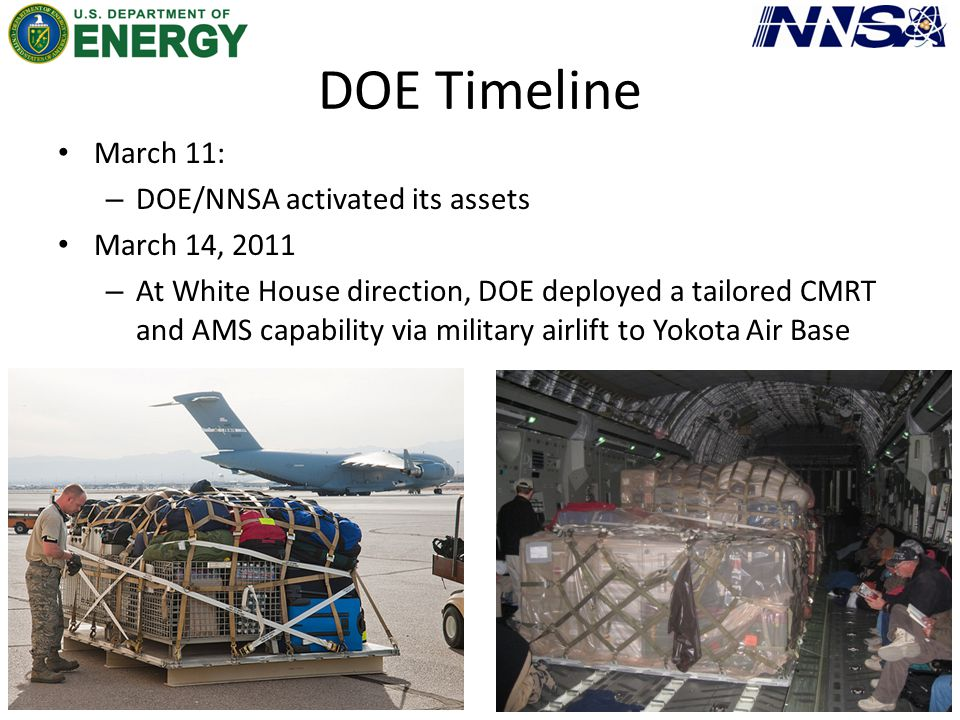 DOE Timeline March 11: – DOE/NNSA activated its assets March 14, 2011 – At White House direction, DOE deployed a tailored CMRT and AMS capability via