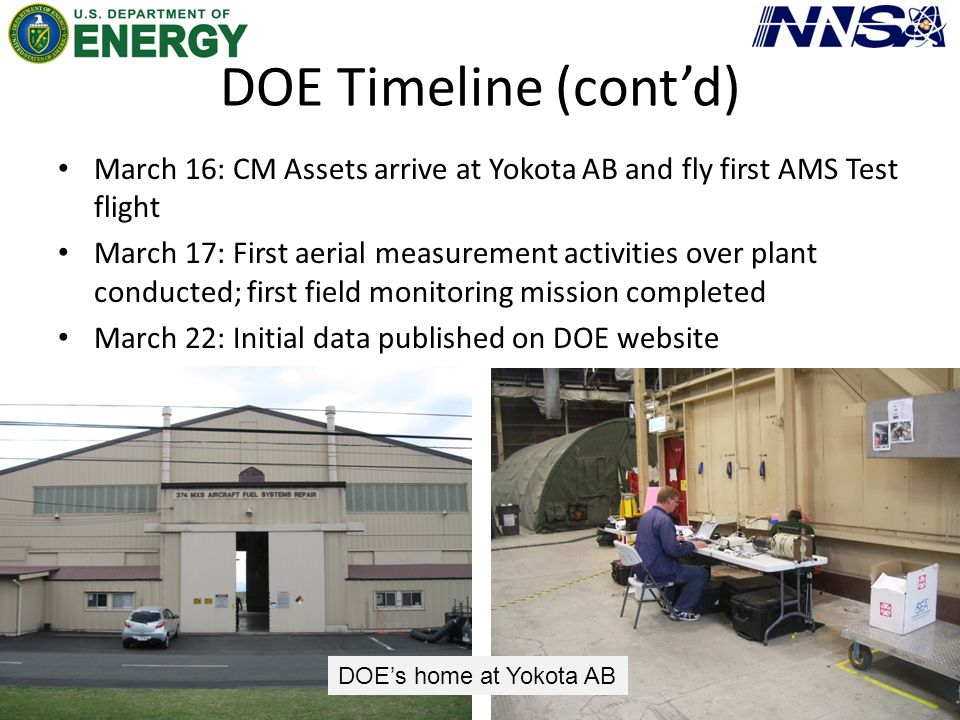 DOE Timeline (cont'd) March 16: CM Assets arrive at Yokota AB and fly first AMS Test flight March 17: First aerial measurement activities over plant c
