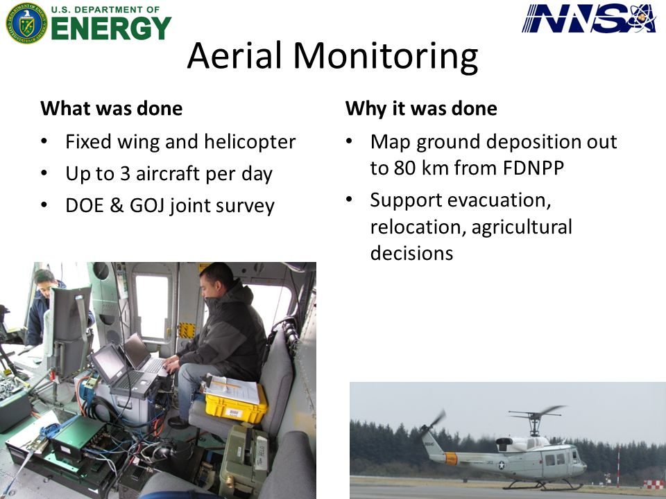 Aerial Monitoring What was done Fixed wing and helicopter Up to 3 aircraft per day DOE & GOJ joint survey Why it was done Map ground deposition out to