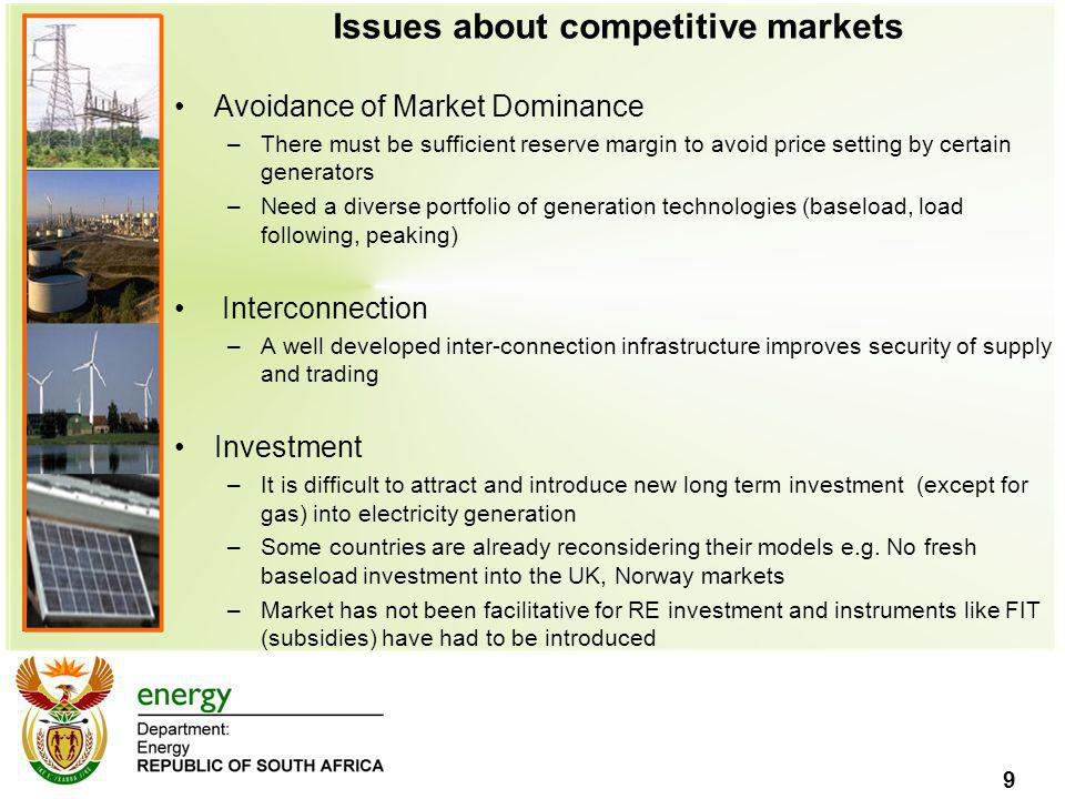 9 Issues about competitive markets Avoidance of Market Dominance –There must be sufficient reserve margin to avoid price setting by certain generators