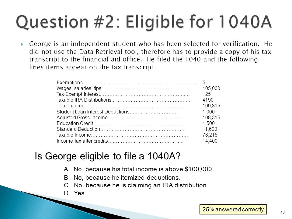  Is George eligible to file a 1040A.D. Yes.