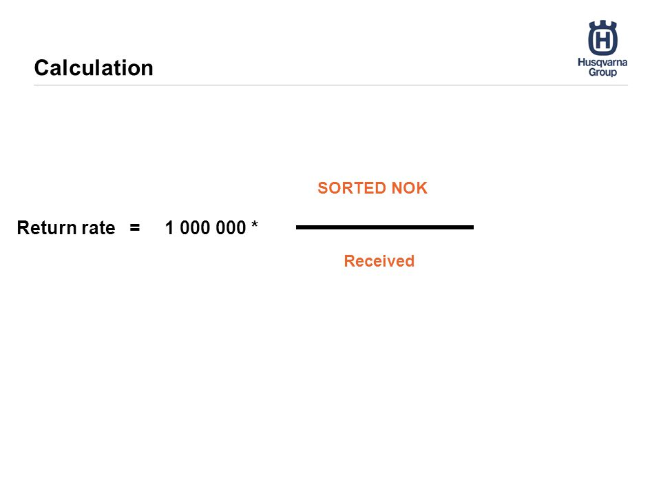 Calculation SORTED NOK Received Return rate = 1 000 000 *
