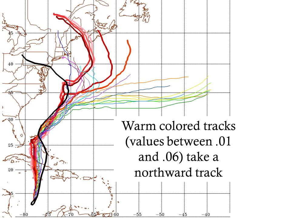 Warm colored tracks (values between.01 and.06) take a northward track