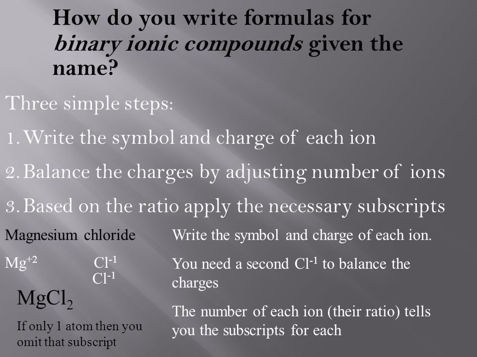 How do you write formulas for binary ionic compounds given the name? Three simple steps: 1.Write the symbol and charge of each ion 2.Balance the charg