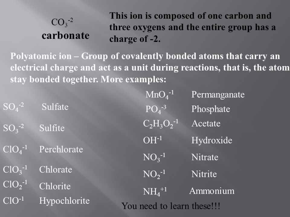 CO 3 -2 carbonate This ion is composed of one carbon and three oxygens and the entire group has a charge of -2. Polyatomic ion – Group of covalently b