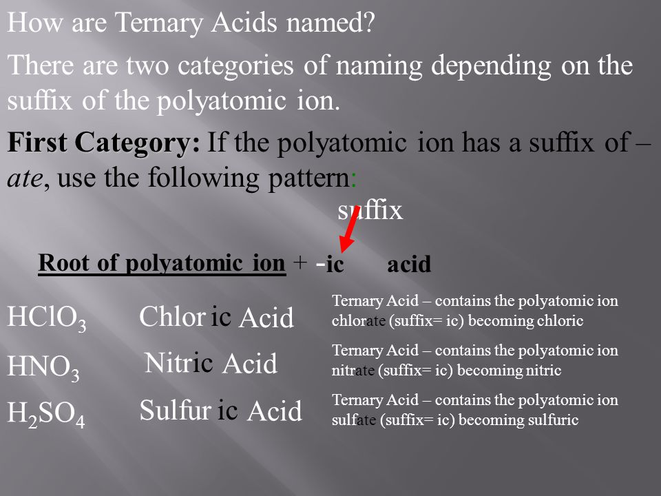Root of polyatomic ion + suffix - ic acid HClO 3 Chlor HNO 3 Nitr H 2 SO 4 Sulfur How are Ternary Acids named? There are two categories of naming depe