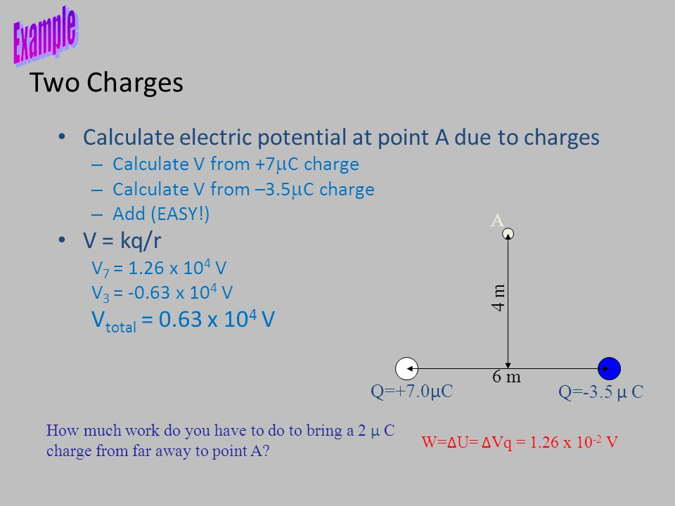 Two Charges Q=-3.5 μ C Q=+7.0 μ C A 6 m 4 m How much work do you have to do to bring a 2 μ C charge from far away to point A.