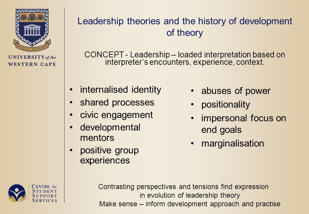Leadership theories and the history of development of theory CONCEPT - Leadership – loaded interpretation based on interpreter's encounters, experience, context.