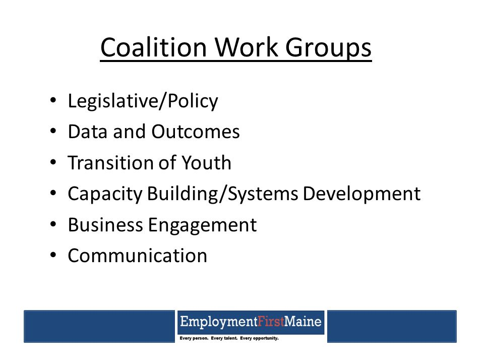 Coalition Work Groups Legislative/Policy Data and Outcomes Transition of Youth Capacity Building/Systems Development Business Engagement Communication